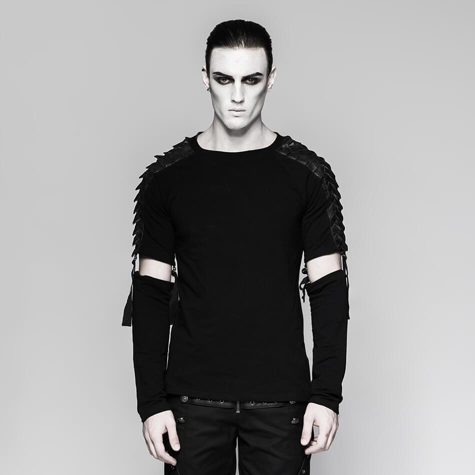 Punk T Shirt Men Black knitted Long Tshirt Minimalist Diablo Warrior Detachable Long Sleeve T shirt for Men Male Gifts-in T-Shirts from Men's Clothing    1