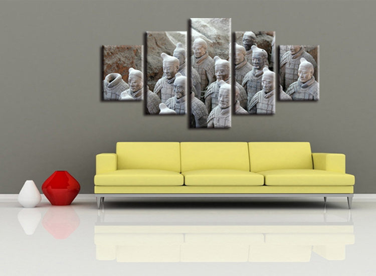 5 Pieces Framed Printed Terracotta Warriors Painting sitting room ...