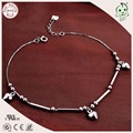 Good Quality 100% 925 Solid Silver Long Tube Connecting Anklets Chain With Three Silver Cute Heart Charms