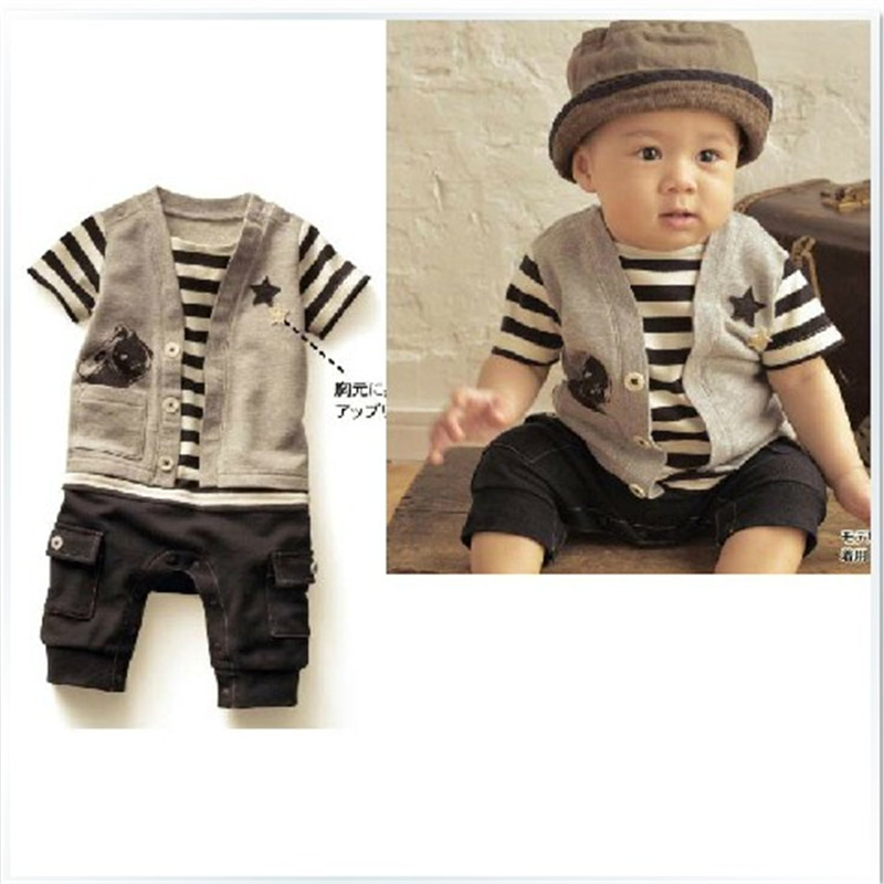 7eb92f5c02ed 2018 Boys Summer Clothes Newborn Baby Boy Romper Clothes Japan Style Short  Sleeve Jumpsuit Gray Striped Baby Gentleman Costumes