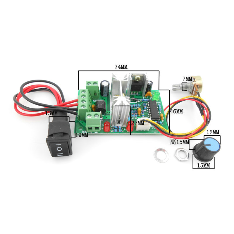 10V 12V <font><b>24V</b></font> 36V PWM DC <font><b>controller</b></font> with Positive inversion switch PWM DC <font><b>controller</b></font> for DC <font><b>motor</b></font> speed <font><b>controller</b></font> 150W image