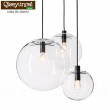 Nordic Pendant Lights Globe Chrome Lamp Glass Ball E27 Lustre Suspension Kitchen Light Fixture Indoor Home Lighting
