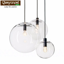 Qiseyuncai Nordic  Globe Chrome  Glass Ball Pendant Lamp E27 lamp holder  Kitchen Light Fixture Indoor Home Lighting