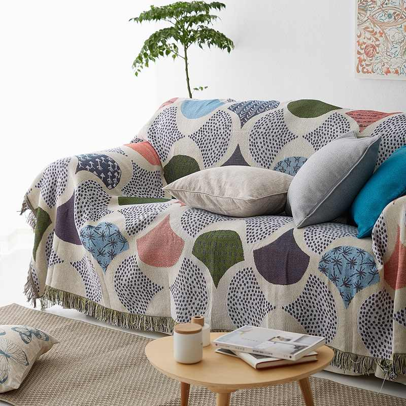 Ginkgo Leaves Knit Chair Sofa Towel
