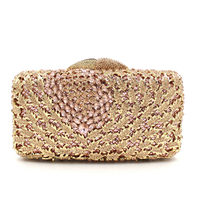 Newest Flower gold/red/silver/blue/white Crystal Evening Bag  rhinestone day Clutches Female Party prom Purse Wedding Clutch bag