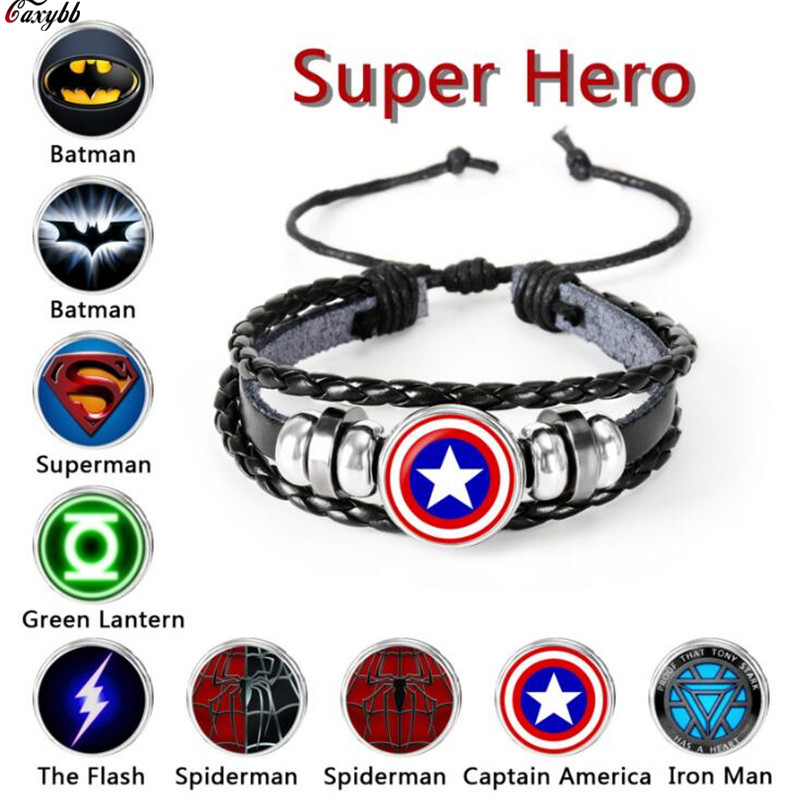 The Avengers Captain America Shield Deadpool Thor Batman Charms Bracelet Kids Boy Punk Multilayer Leather Bracelete Jewelry