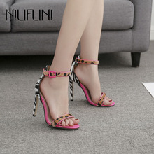 New Arrival Leopard Zebra Pattern Stiletto Ladies Shoes 2019 Fashion Color Matching Sexy Candy High Heels Womens Sandals
