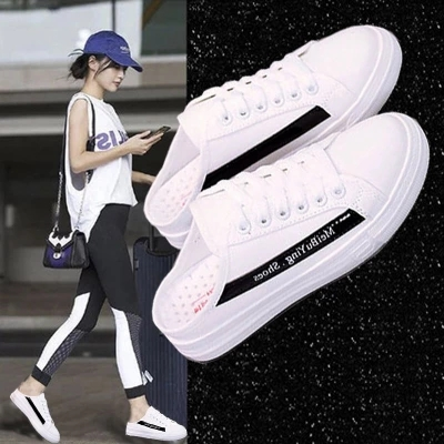 2018 Chaussures Coréens 2 Sans Nouveau Femme 3 D'été 1 Blanc Étudiants Toile Sauvage Respirant Paresseux Talon Pantoufles qEwTBxd