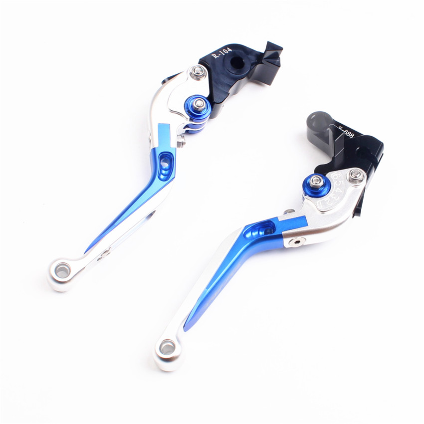 Extendable Folding Brake Clutch Lever For Yamaha YZF R6 1999 2000 2001 2002 2003 2004 Aluminum Moto Accessories Silver with Blue for yamaha yzf r15 2013 2016 aluminum cnc adjustable extending brake clutch lever blue