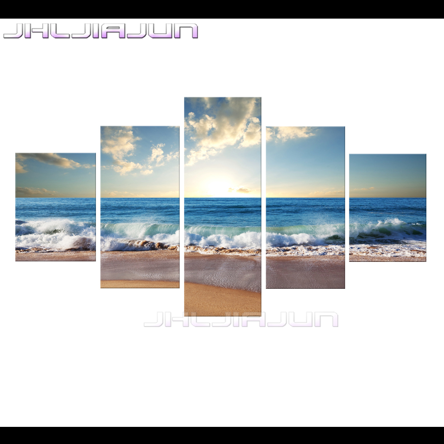 online get cheap beach movie posters aliexpress com alibaba group sea view hd prints painting kids room decoration nordic modular pictures home decor 5 piece canvas art movie poster waves beach