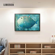 Cartoon Fish House Prints Canvas Painting Art Poster Wall Picture For Kids Baby Room Decor Nursery Print No Frame L058(China)