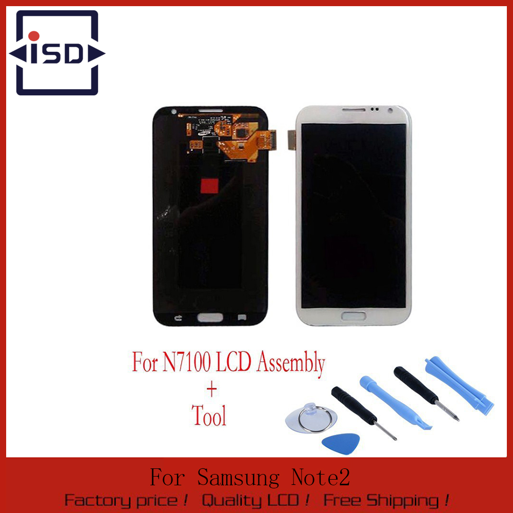 White LCD Display Touch Screen Digitizer Assembly For Samsung Galaxy Note 2 N7100 N7105 i317 T889 i605 L900+tools free shipping