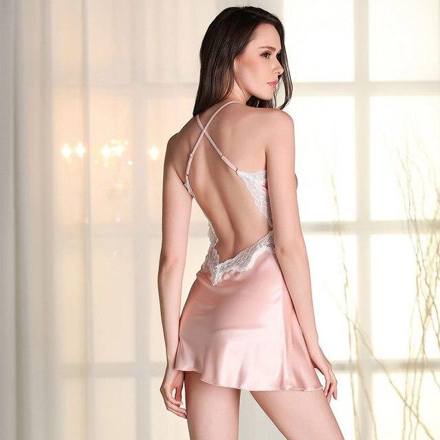 a87618730da Womens Summer Sexy D6689 Dress Lingerie Sleepwear Lace Backless Nightdress  Underwear D6689