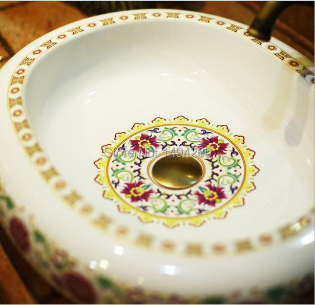 Europe Vintage Style Hand Painting Art Porcelain Green Countertop Basin Sink Handmade Ceramic Bathroom Vessel Sinks Vanities - Teluoyi mosaic shop store