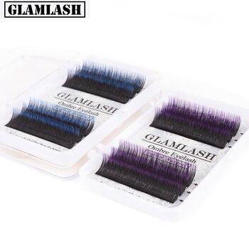 GLAMLASH 0.07 8-13mm  ombre Individual Eyelashes Extensions Purple Blue color Faux Soft Gradient Color Mink Premium Lash Makeup