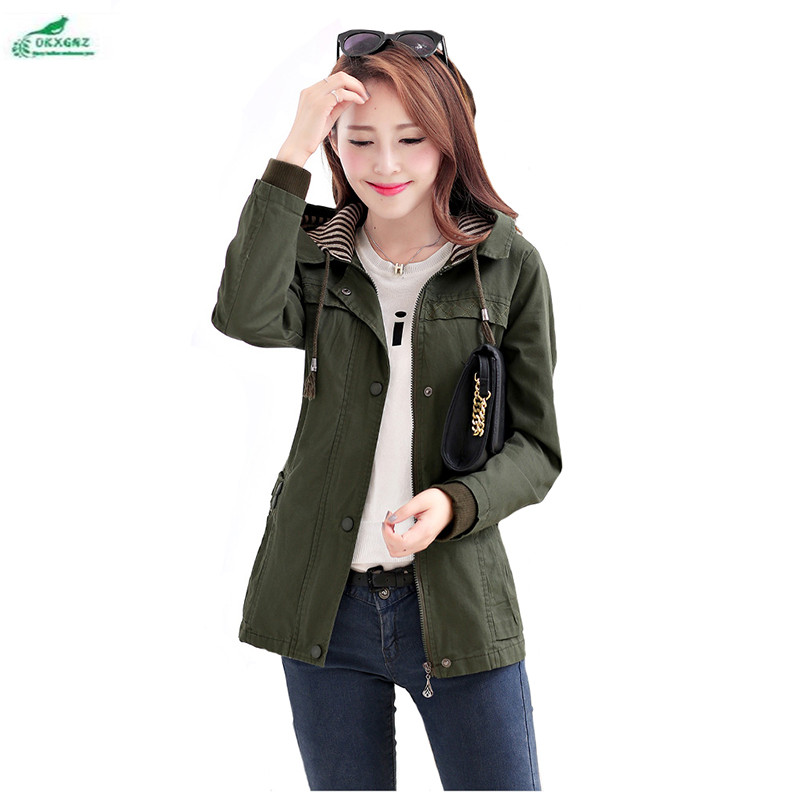 Autumn short Windbreaker coat lady Slim high-end large-size Outerwear women spring short long-sleeved leisure coat OKXGNZ QQ966