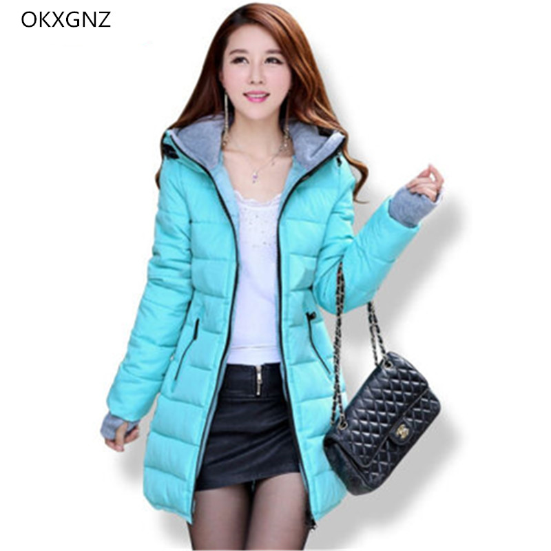 Down Cotton Jackets Women Winter Warm Coat New Fashion Hooded Thicker Casual Outerwear Plus Size Slim Parkas Female OKXGNZ AH203 new winter women cotton jackets solid color hooded long coat plus size fur collar thicker warm slim casual outerwear okxgnz a795