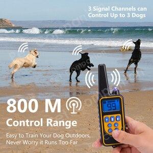 Image 5 - נטענת עמיד למים אלקטרוני כלב אימון קולרים להפסיק לנבוח LCD תצוגת 800 חצר שלט רחוק הלם virbration טון
