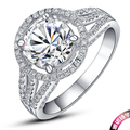 2 Carat Luxury Round Cut Test  As Real Genuine Moissanite Engagement Ring Genuine 18k White Gold Forever Love Lasting