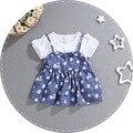 2016 del verano del bebé fijado ropa de algodón t-shirt + Impresión Floral de la correa Vestido de 2 Unidades Para Niños Arropa los sistemas recién nacido niña ropa de bebé traje