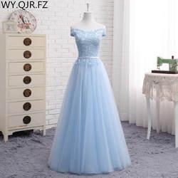 JFN # кружевное длинное короткое голубое платье для подружки невесты с открытыми плечами 2018, новое платье для подружки невесты на заказ