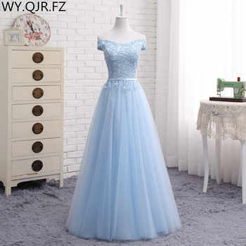 JFN#Lace up Off Shoulder Long middle short blue Bridesmaid Dresses 2018 new Sister group Custom party prom dress toast suit - DISCOUNT ITEM  10% OFF All Category