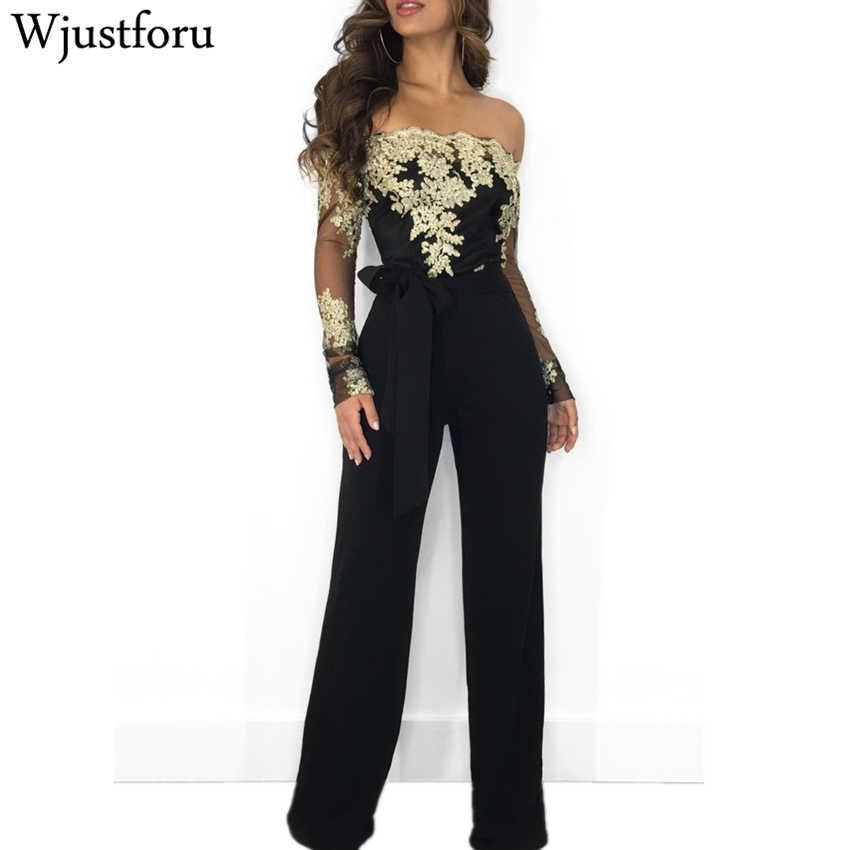 43a880f39a Wjustforu Off Shoulder Sexy Lace Jumpsuit Summer Fashion Bandage Wide Leg  Jumpsuit Long Sleeve Elegant Bodycon