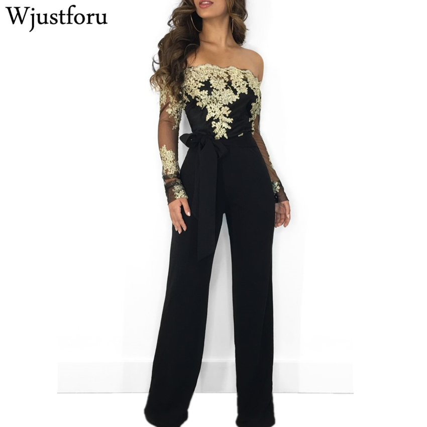 Wjustforu Off Shoulder Sexy Lace   Jumpsuit   Summer Fashion Bandage Wide Leg   Jumpsuit   Long Sleeve Elegant Bodycon   Jumpsuit   Female