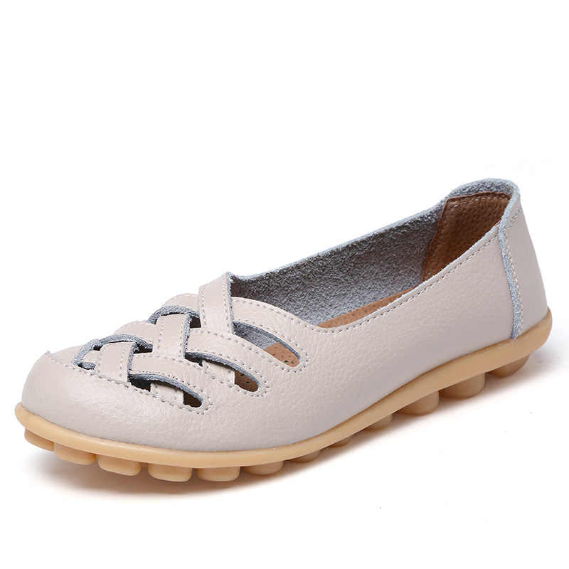 Yeni varış kadın sandalet yaz ayakkabı 2019 moda hakiki deri günlük mokasen ayakkabı ayakkabı daireler oymak boyutu 34-44