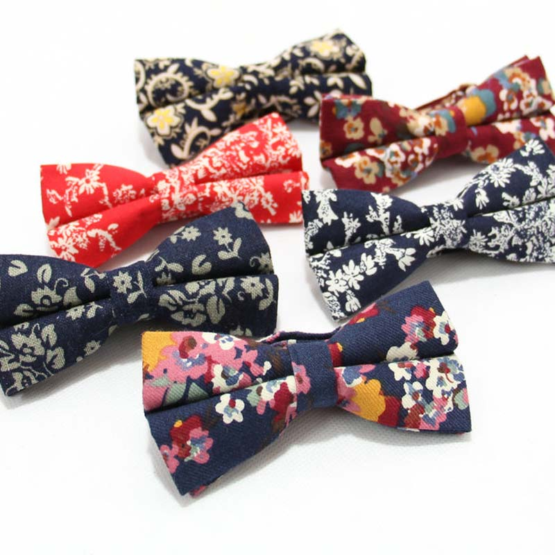 Capable Fashion Adjustable Men's Suit Bows Neck Ties Wedding Holiday Prom Party Tuxedo Floral Print Cotton Bowtie Decor Casual Business Latest Fashion