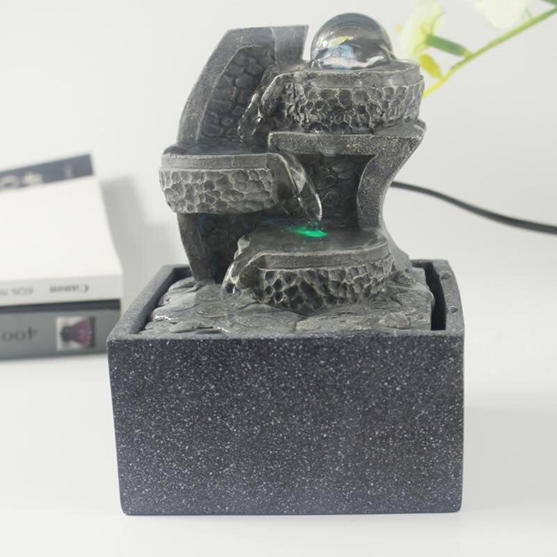 110/220 V résine naturelle Feng Shui fontaine d'eau boule de cristal défilement paysage aquatique décoration Figurines Miniatures artisanat envoyé ami - 6