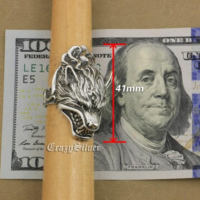 LINSION 925 Sterling Silver Werewolf Grinning Wolf High Details Mens Biker Rock Punk Ring TA21