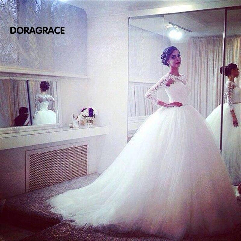 New Arrival Romantic Applique Tulle A Line 3/4 Sleeve Wedding Gowns Designer Dresses DG0119