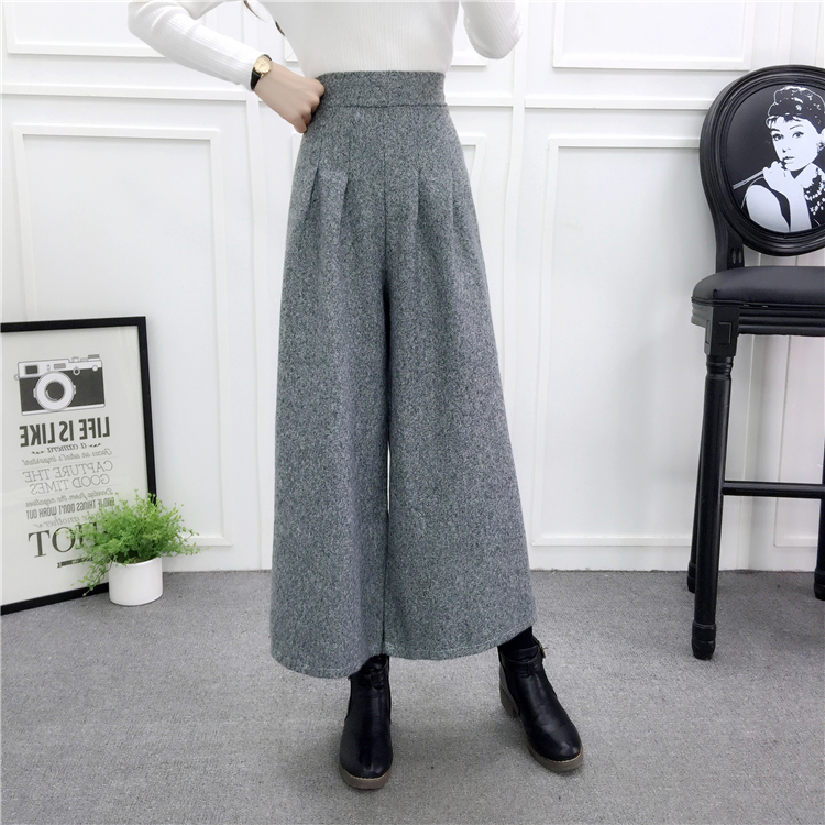 ZHISILAO Loose Trousers Women Winter Warm Wool Wide Leg Pants Maxi Plaid High Waist Trousers Elastic Thick Black Pants Casual 22