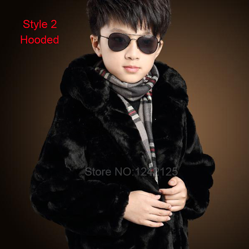 ФОТО New autumn winter children boy girl warm full genuine leather real rabbit fur jacket clothing fox collar outerwear coat overcoat