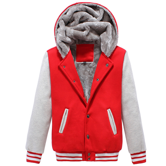 d4bb1c069 US $46.19 30% OFF|Winter Classic Hooded Baseball Jacket Men/Women 2017 Mens  Fashion Fur Thick Varsity Jacket Casual Bombers Veste Homme-in Jackets ...