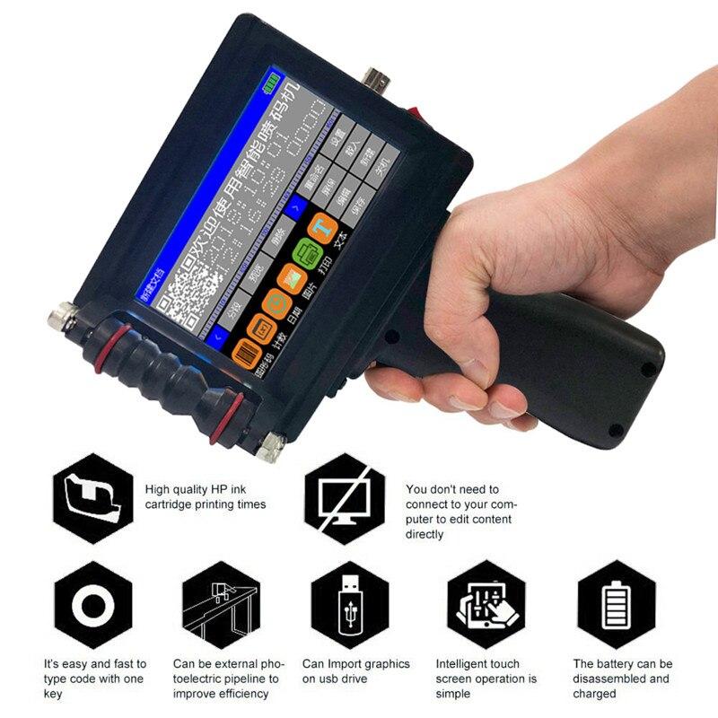 Handheld Portable Printer Mini Inkjet Label Print Machine Touch Screen 600DPI Intelligent USB QR Code Inkjet