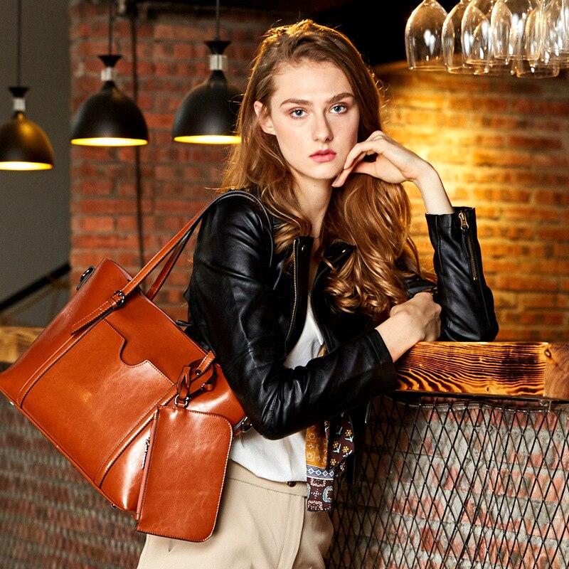 Burminsa 2 ชิ้น/เซ็ตใหญ่ผู้หญิงของแท้หนังกระเป๋าทำงาน Tote กระเป๋าสุภาพสตรีไหล่กระเป๋า Messenger หญิงกระเป๋า 2019-ใน กระเป๋าหูหิ้วด้านบน จาก สัมภาระและกระเป๋า บน   2