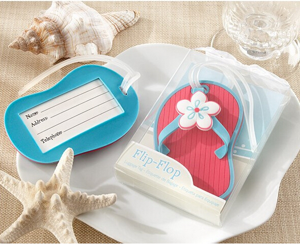 DHL free shipping 50 pcs Flip flop luggage tag beach style wedding favor bridal shower gifts