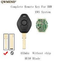 QWMEND 3 Tasten HU58 Klinge 433 Mhz Remote Key Für BMW 318 325 330 525 530 540 E38 E39 E46 EWS M5 X3 X5 EWS System key KEIN chip
