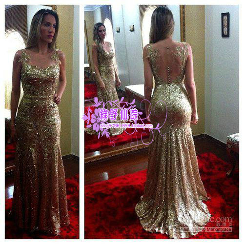 free Shipping vestido de festa robe de soiree 2014 new fashion sexy backless gold Sequins long formal party gown evening Dress