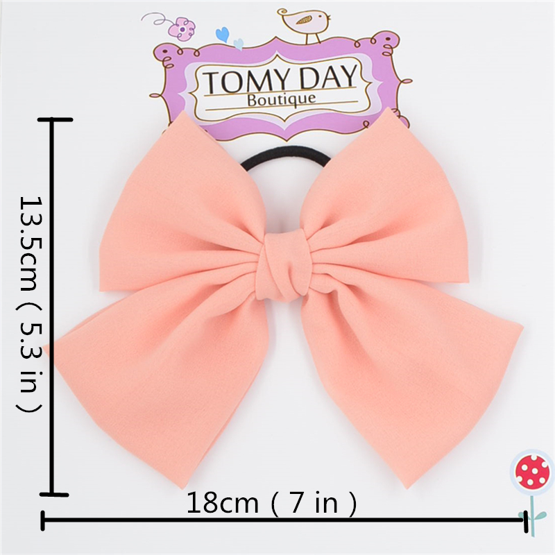 big bow 7 inch Elastic Hair Bands Solid Color chiffon bow tie PonyTail Holder Hair Bow Hairband for women girls Hair Accessories hair tie 3pcs