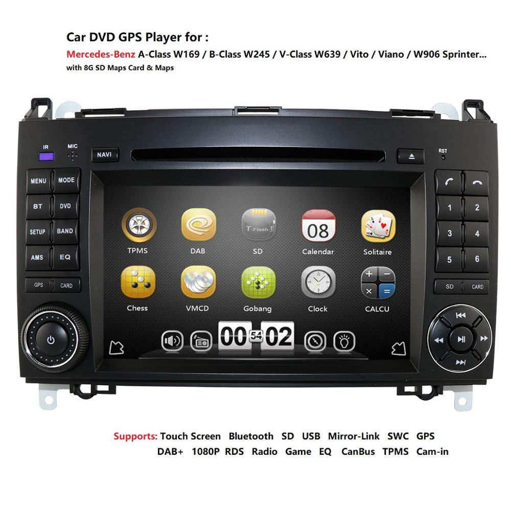 <font><b>7</b></font> Inch Double 2 Din Car DVD Player Navigation for Mercedes-benz B200 W169 A160 Viano Vito GPS NAVI RADIO BT free Map image