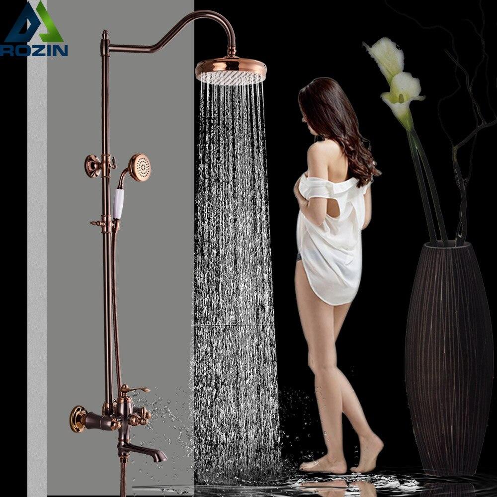 8 Rainfall Rose Golden Shower Faucet Set with Handshower Single Lever Swivel Spout Bath Shower Mixer
