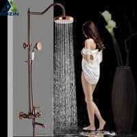 8 Осадки Роза Золотая душа комплект с Handshower Однорычажный поворотный носик Ванна смеситель Системы смеситель для душа коснитесь
