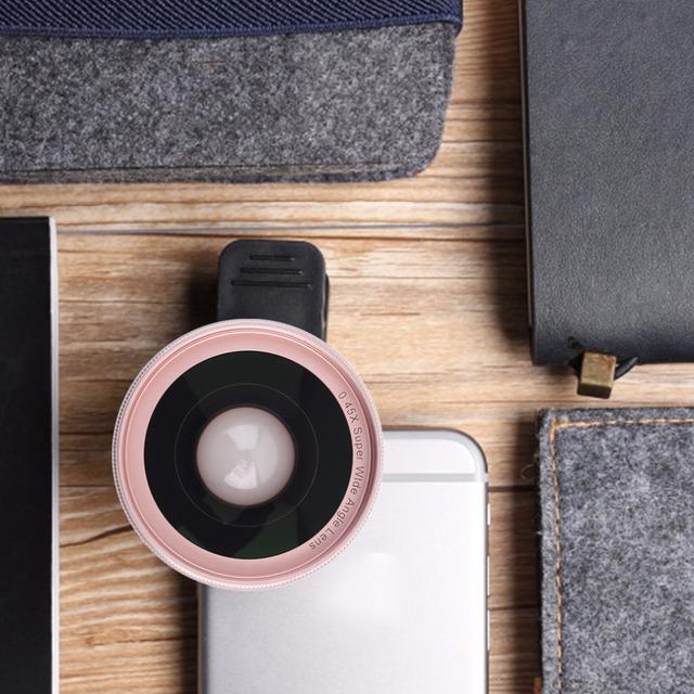 Lente Da Câmera Do Telefone móvel Set Clipe De Metal Universal Telefone Inteligente 0.45X Super Wide Angle + Lente Macro Conjunto de 3 Cores opcional