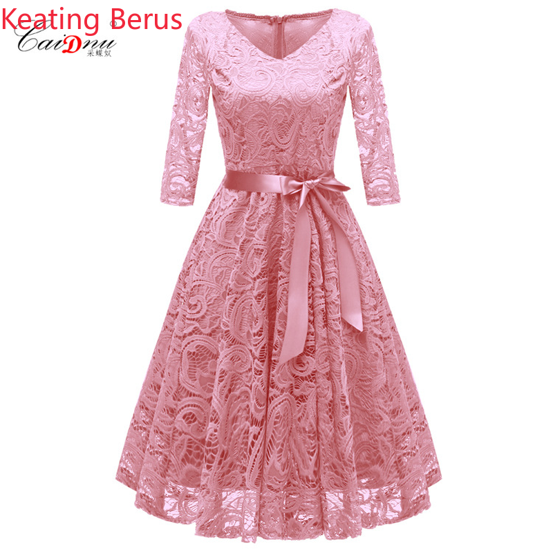 Women's Lace Dress Tulle Dress Sexy V neck Long sleeved Pink Long Vogue Elegant Clothes Bandage Party Dress