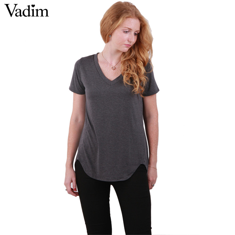 Women V neck loose shirts casual t shirt basic short sleeve tees cozy tops  3 colors