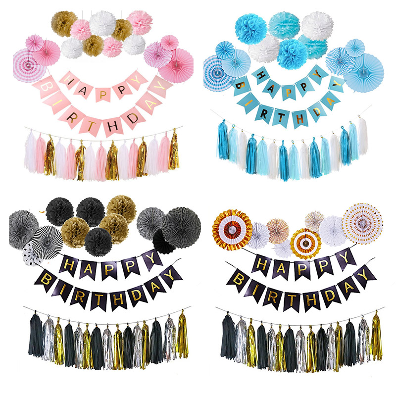 Full Set Pink Blue Black Gold Garland Round Flower Balls Pom Poms Tissue Paper Honeycomb for Wedding Backdrop Hanging Decor NHD