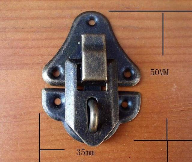 35*50MM 30pcs antique cabinet drawers hasp lock vintage jewelry wooden wine  gift box buckle - 35*50MM 30pcs Antique Cabinet Drawers Hasp Lock Vintage Jewelry